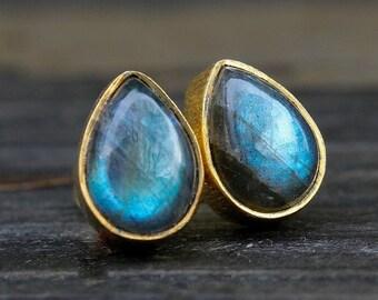 Midnight Blue Labradorite Stud Earrings - Teardrop Posts