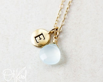 Aqua Blue Chalcedony Necklace - Initial Charm - Personalized Letter Necklace