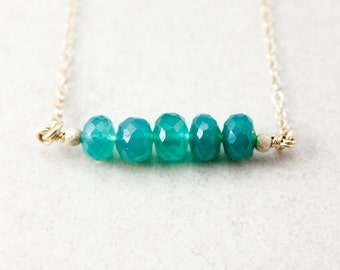 May Emerald Green Onyx Necklace - Bar Necklace - Birthstone Necklace