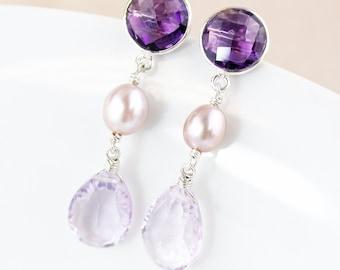 Purple Amethyst Earrings - Dangle - Pink Amethyst and Freshwater Pearl