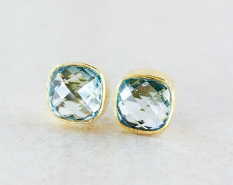 Light Aqua Quartz Stud Earrings - Teal Quartz - Gold/Silver