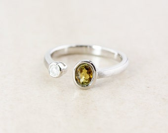 Yellow Tourmaline and Diamond Dual Ring - Oval Cut - Sterling Silver