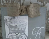 Grey Distressed Wood Board Picture Frame with Custom Initial and Burlap Bow Great Wedding Bridal or Baby Gift