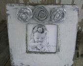Weathered White Distressed Wood Picture Frame with Grey and White Fabric Rosettes Sweet Baby Family Photos