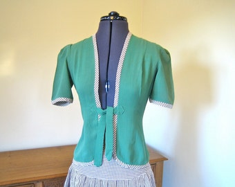 "1940s Jacket and Skirt set. Wonderful green and brown gingham size Small, XS 23-4"" waist"