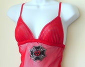 Red Fishnet Camisole - Rocker - Lingerie - Fredericks of Hollywood - Vintage - Scarlet - Sexy - Layer - Rock Star - Size Large