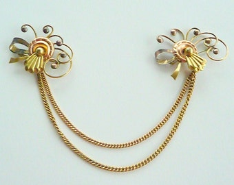 Sweater Brooch - 1940s Pins Set - Chains - Harry Iskin - Designer - UNIQUE - Glamour - Recycled - RARE - 40s - Gold Filled - Retro Gift