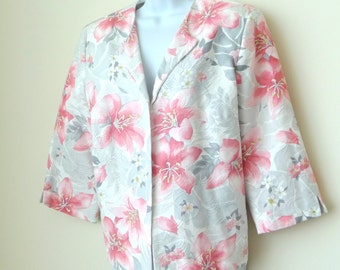 Floral Jacket - Wedding - Three Quarter Sleeve - Girly - Feminine - 90s - Size 14 Womens - Cotton - Fully Lined - Recycled - Alfred Dunner