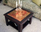 Small Copper Coffee Table with Shelf, 24 x 24 Square, Reclaimed Wood, Rustic Contemporary, Dark Brown Wax Finish - Handmade