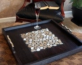 "Large Modern Ottoman Tray, Stainless Mosaic Centerpiece, ""Steel Pebbles"", Ebony Finish, 24 x 24, Handmade"