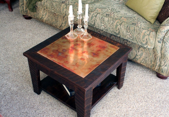 Small copper coffee table with shelf 24 x 24 square for Table y copper