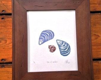 time of wonder. hand carved and printed wood block print.
