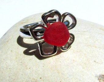 Cherry Red  Sea Glass And STERLING SILVER Ring    Sea Glass From Puerto Rico