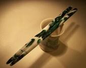 "Green and White acrylic hair sticks choose 5"" 6"" 7"""