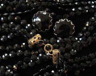 Vintage Black Plastic Necklace 50 Inch 4 Strand