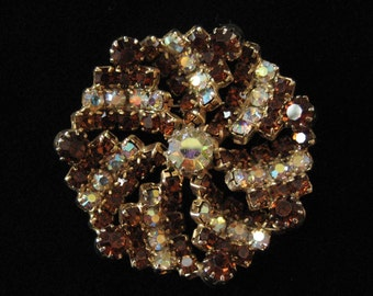 Brown and AB Rhinestone Brooch, Pinwheel Design