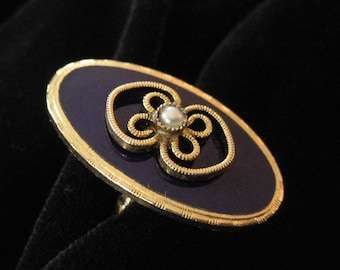 Royal Blue Enamel Costume Ring with Filigree