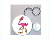 Pink Flamingo  Keychain 2.25 inches in diameter Fun Key Fob Key Chain