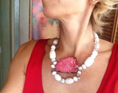 White Red Jasper Large Slab Chunky Statement Necklace