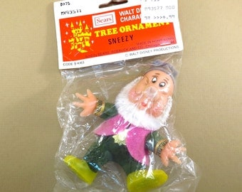 Sneezy Snow White and the Seven Dwarfs Christmas Ornament Vintage 1970s Walt Disney Blow Mold Flocked Tree Ornament in Original Packaging
