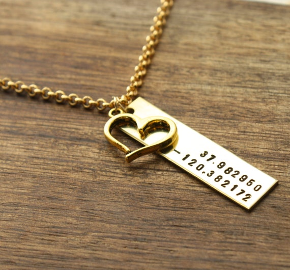 Gps Coordinates Necklace: Wedding Coordinates Necklace Engaged By Sierrametaldesign