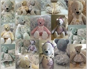 Heirloom Blue, Yellow, Pink, Green Floral Specialty Teddy Bears With Lace - Custom Order, You Choose