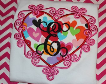 Valentines heart with Initial- personalized tshirt