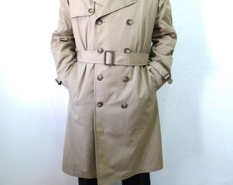 Vintage Coat London Fog Trench Coat Double Breasted Raincoat Warm Removable Plush Lining Men 42 Reg Large