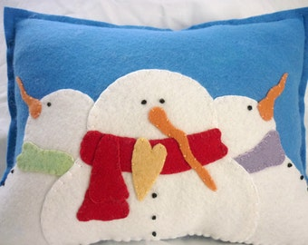 Snowman Family Pillow Wool Felt Applique Penny Rug Primitive