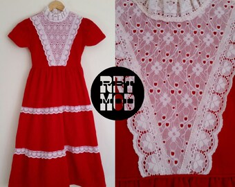Red Velvet with White Lace Trim Juniors Dress - So Festive and Boho! Bib Front.