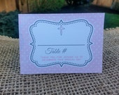 BAPTISM Pink polka dot Place cards - tent cards by Just Scraps N Things