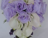 Real Touch / Latex Calla lilys and Silk Lilac Roses & Crystal  Wedding Bridal Cascade Cascading Bouquet