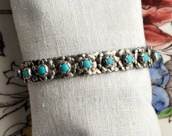 Vintage Mexico Floral Turquoise Silver Bracelet, Southwestern, Sterling Silver, Solid Silver