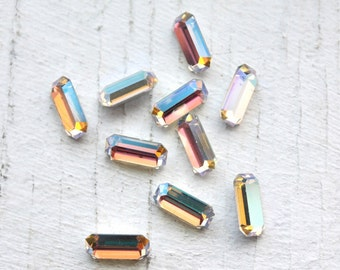 Vintage 1950s Champagne Rhinestones // 4mm x 8mm Rectangle // Aurora Borealis - 12 Pieces