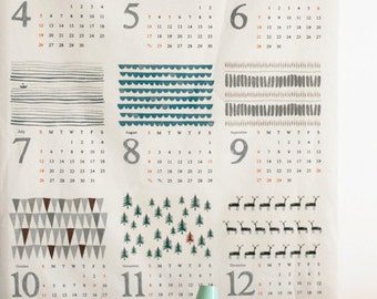 A yard of Full size, 2015 Illus and Calendar on linen blended, U220