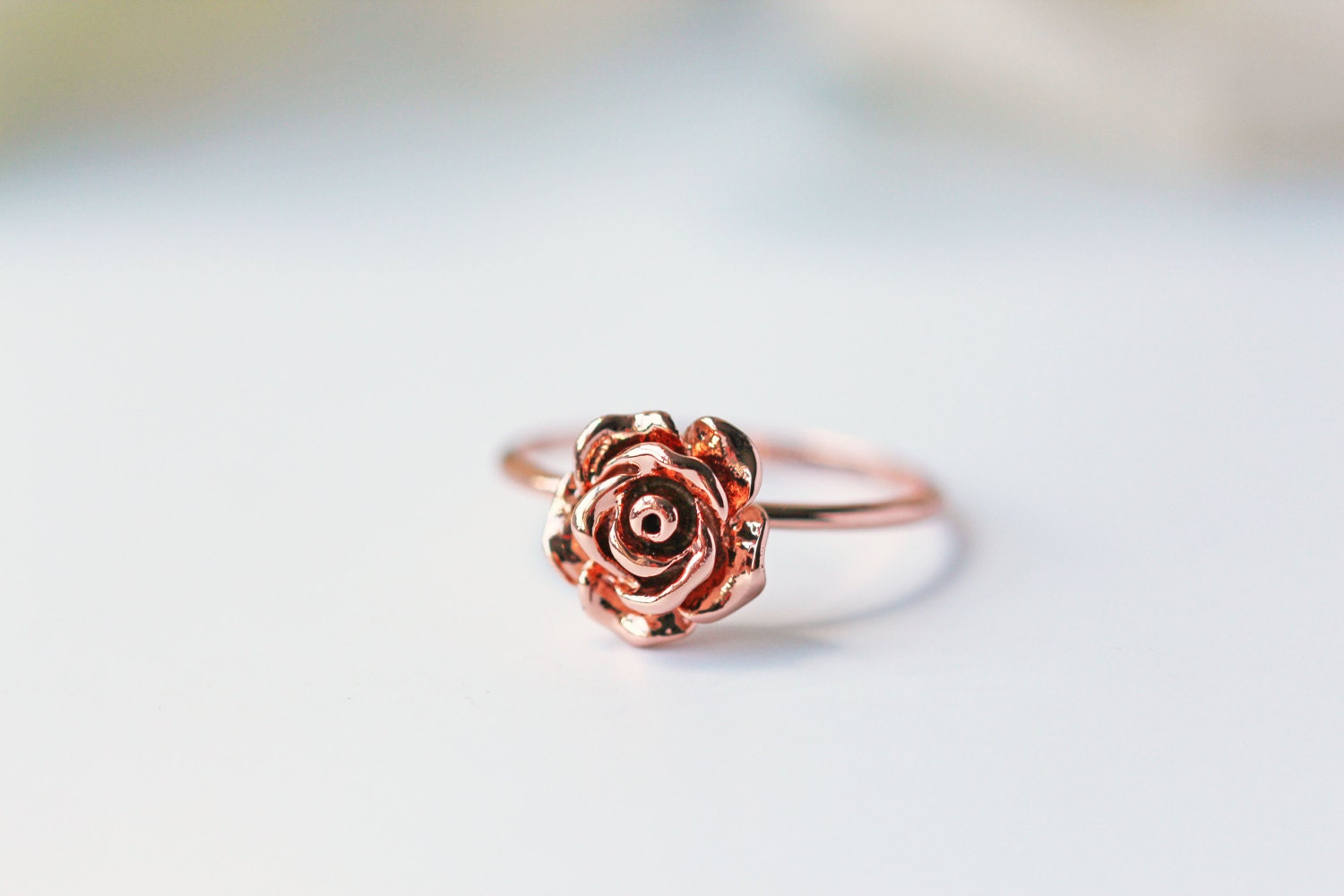 Rose Gold Ring Size 5 3/4 Rose Pink Gold Modern Dainty Simple