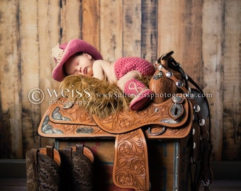 Pink Cowboy Outfit - Pink Cowboy Baby Outfit - Cowboy Photo Prop - Baby Cowboy Prop - Cowboy Newborn - Sheriff Baby Costume - Cowboy Props