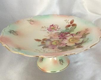 Vintage Schumann Arzberg Bavaria Wild Rose peach blush footed cake plate