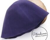 100% Wool Felt Cone Hood Hat Body for Millinery & Hat Making - Purple