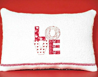 Valentine Accent Pillow Love Hearts Red White Valentines Day Wedding Bridal Gift Decorative Repurposed