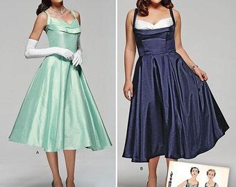 50s Shelf Bust Dress Pattern 1950s Repro Simplicity 1194 Rockabilly Cocktail Party size 10-18 bust 32-40 S M L