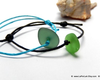 for HIM or HER - Mermaid Tears friendship Bracelet - Sea Glass Stacking Bracelet with Genuine Natural Amalfi Sea Glass