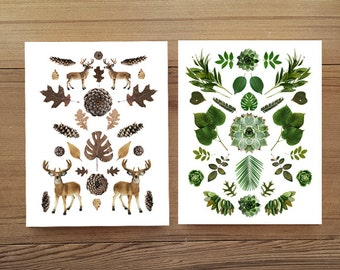 Green and Woods collage blank notecards (white) set of 4 w/envelopes. nature inspired. botanical collage. Gift set. Stationery