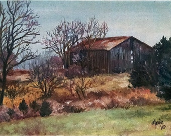 Abandoned Barn Landscape Painting - 10x8in Original Oil On Sale