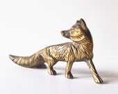 Vintage Brass Fox Figurine Retro Home Accent Statue Wes Anderson Inspired Decor