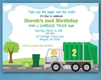 Garbage Truck Birthday Invitations Recycling Party Garbage Truck Birthday Party PRINTED Invtations