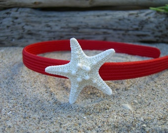 Girls/Toddlers Starfish Headband-RED-Mermaid Hair, Beach Weddings, Summer, Toddler Hair Photo Prop, Children, Coastal, Children, Fun
