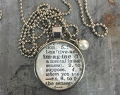 Vintage Dictionary Word Necklace Pendant IMAGINE