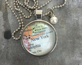 Map Pendant Necklace New York, New York NY