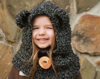 Children's Bear Hood / Cowl - Charcoal Grey